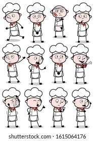 Comic Vintage Chef Poses - Set of Concepts Vector illustrations