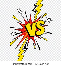 Comic VS or Versus vector design of comics book battle, superhero fight and sport game competition. VS letters isolated on transparent background with pop art boom bubble, bomb explosion, lightnings