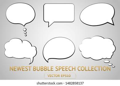 Comic white speech bubble isolated sticker vector icon set. Cartoon bubble speech tag icons collection. Cloud bubble speech design for text, talk, message, dialogue. Balloon bubble speech textbox