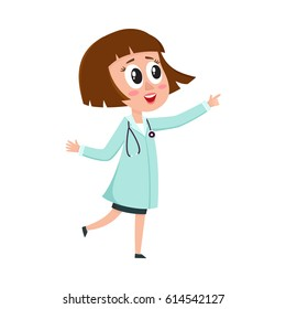 Comic woman doctor character with bob haircut wearing medical coat, pointing to something, cartoon vector illustration isolated on white background. Full length portrait of funny woman doctor pointing