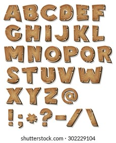 Comic Wood Alphabet/ Illustration of a set of wooden comic ABC letters and font characters also containing punctuation symbols