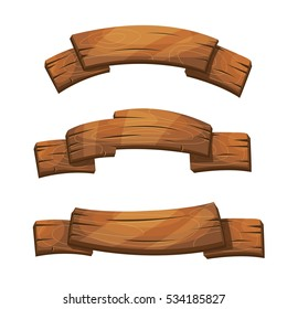 Comic wooden banners and signs. Wood plank board, cartoon wooden brown board illustration