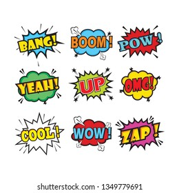 Comic words. Cartoon speech bubble with text, vector