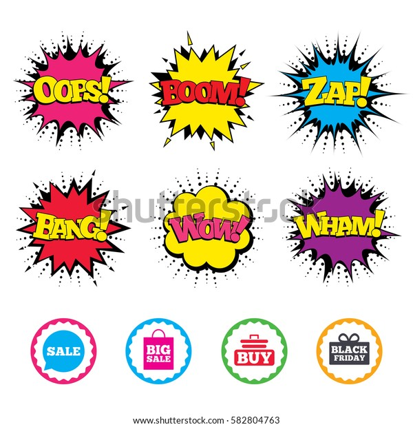 Comic Wow, Oops, Boom and Wham sound effects. Sale speech bubble icons. Buy cart symbols. Black friday gift box signs. Big sale shopping bag. Zap speech bubbles in pop art. Vector