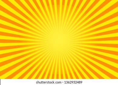 Comic yellow background cartoon style sunlight vector Illustration. EPS 10