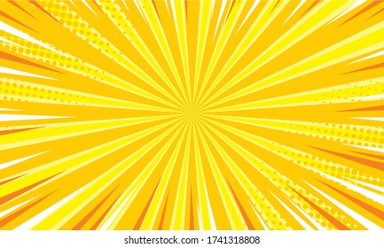 Comic yellow sunbeam background. Retro pop art style cartoon background. Vintage halftone vector illustration. Layout retro cartoon template. Comic book yellow superhero burst effect