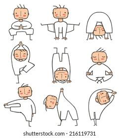 Comic Yoga Man Collection. Doing healthy yoga poses person. Vector EPS8.