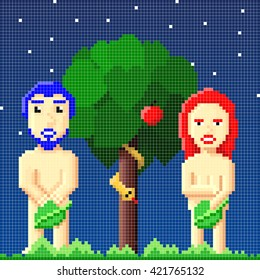 Comical background made of pixelated adam and eve besides the tree of knowledge under a star filled night sky