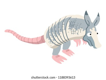 A comical cartoon armadillo