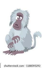 A comical cartoon baboon