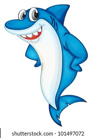 Comical shark character on white