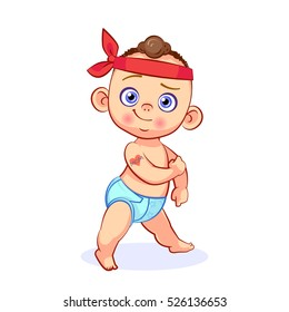 """Comical strong baby boy in diaper, with a red bandage, with tattoo """"love mom"""", standing in a pose cool guy. Funny vector cartoon kids art for Mother's Day card or baby shower party."""