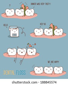 Comics about dental floss. Vector illustration for children dentistry and orthodontics. Cute teeth characters.