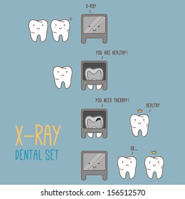 Comics about dental X-ray. Vector illustration for children dentistry and orthodontics. Cute characters. Cartoon tooth.