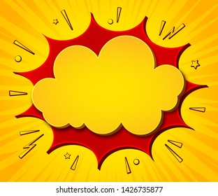 Comics background. Cartoon poster in pop art style with yellow-red speech bubbles with halftone and sound effects. Funny colorful banner with place for text on bright backdrop with radial stripes