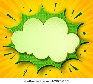 Comics background. Cartoon poster in pop art style with yellow-green speech bubbles with halftone and sound effects. Funny colorful banner with place for text on yellow backdrop with radial stripes