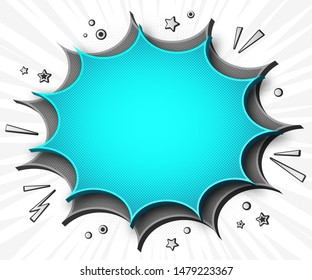 Comics background. Cartoon poster in pop art style with grey-blue speech bubbles with sound effects. Funny colorful banner with place for text on white backdrop with radial stripes