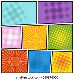 Comics book background. Different colors