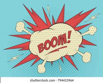 Comics book balloon lettering Boom sound effects and cartoon blast. Pop art vector illustration.