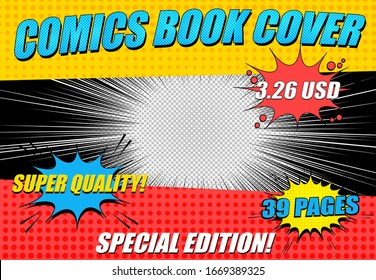 Comics book cover horizontal template with different inscriptions colorful speech clouds halftone and beams effects. Vector illustration