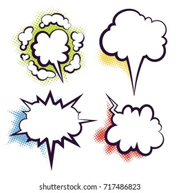 Comics book dialog empty clouds, space cartoon box pop-art. Outline pictures template memphis style text speech bubbles halftone dot background. Creative idea conversation sketch explosion balloons