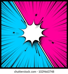 Comics book empty colored template background. Pop art colorful backdrop mock up. Vector illustration halftone dot chat mockup versus comic text. Silhouette boom explosion. Speech bubble box balloon.