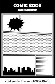 Comics book monochrome template background. Pop art black white empty backdrop mock up. Vector illustration halftone dot mockup for comic text. Silhouette city boom explosion. Speech bubble balloon.