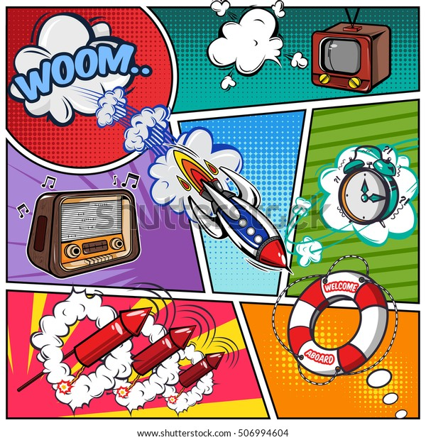 Comics Book Page Flight Sound Effects Stock Vector (Royalty