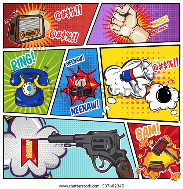 Comics Book Page Sound Effects Phone Stock Vector (Royalty