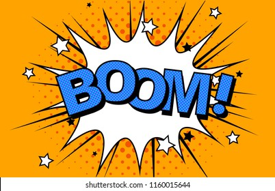 Comics Boom! Comic Vector cartoon illustration explosions. Symbol, sticker tag, special offer label, advertising badge. Sign banner. Comics speech bubble bang. Clouds for explosions like boom. Pop-art
