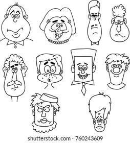 Comics faces with different emotions. Vector EPS 10.
