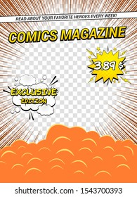 Comics magazine cover template with speech bubbles smoke after explosion rays and different inscriptions on transparent background. Vector illustration