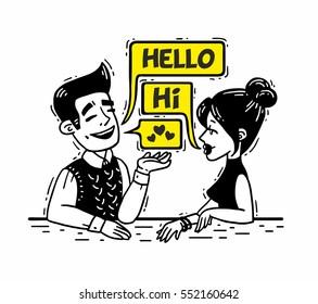 comics man talking with a woman