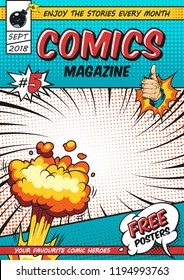 Comics poster design template with burst speech bubbles twisted rays halftone humor effects thumb up hand gesture bomb vector illustration