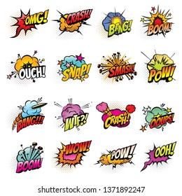 Comics speech bubbles vector design. Boom and bang sound effects, pow, crash and smash explosion clouds, oops, ouch and wtf exclamations, omg and wow expressions with halftone lightnings and stars