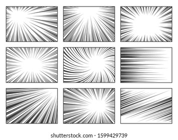 Comics speed line black and white vector illustrations set. Horizontal, radial and diagonal speed trace lines isolated on white background. Manga style comics book bang, explosion sketch illustration