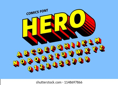 Comics style font, alphabet letters and numbers, vector illustration
