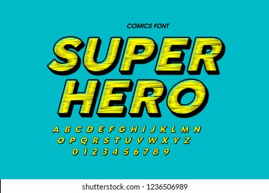 Comics style font design, alphabet letters and numbers vector illustration