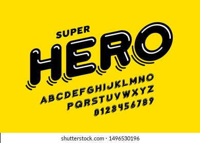 Comics style font design, super hero alphabet, letters and numbers, vector illustration