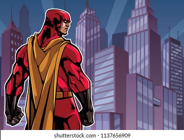 Comics style illustration of powerful superhero standing on cityscape background.