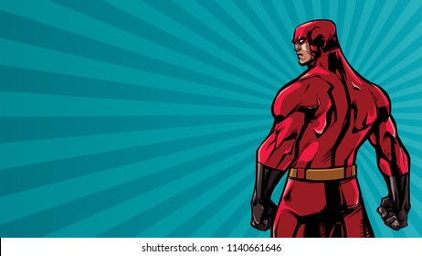 Comics style illustration of powerful superhero standing on ray light background.