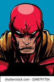 Comics style llustration of the portrait of a powerful superhero looking at camera with a tough facial expression isolated on blue background.
