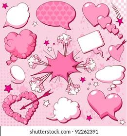 Comics style love speech bubbles
