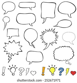 Comics style speech bubbles. Collection set of cute speech balloon doodles plus some punctuation marks, symbols, and bubbles. Vector illustration.
