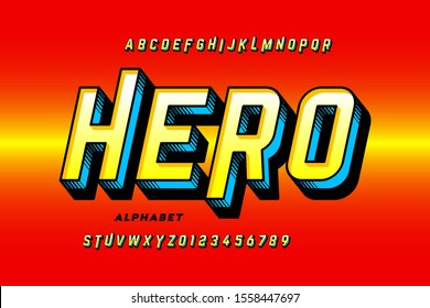 Comics style super hero font, alphabet letters and numbers, vector illustration