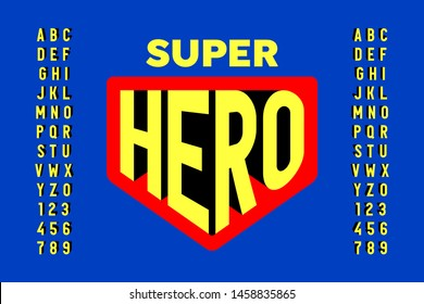 Comics super hero style font design, alphabet letters and numbers vector illustration