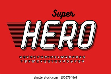 Comics Super Hero style font, alphabet letters and numbers, vector illustration