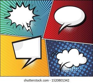 Comics Template. Comic speech bubbles and comic strip background.