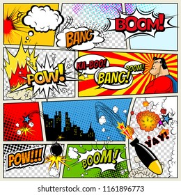 Comics Template. Vector Retro Comic Book Speech Bubbles Illustration. Mock-up of Comic Book Page with place for Text, Speech Bubbls, Symbols, Colored Halftone Background and Superhero