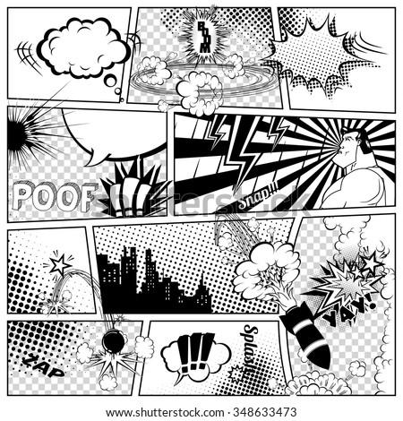 Comics Template Vector Retro Comic Book Image Vectorielle De Stock